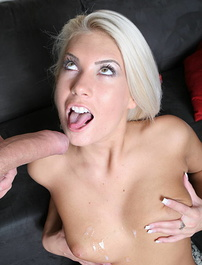 Blonde amateur Ruby Knox does a seductive striptease and later rides a cock like a horny cowgirl