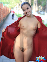 Cute exhibitionist with hourglass body at work